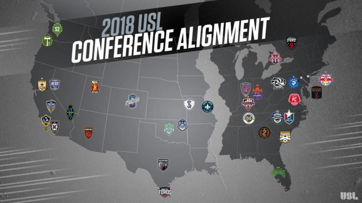 2018 USL Schedule Conference Alignment Soccer