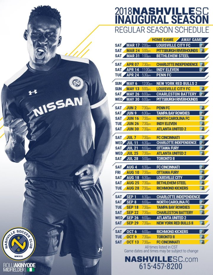 newest 4d6f6 1110c Nashville SC television schedule 2018 – For Club and Country