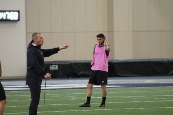 Coach Gary Smith and striker Cameron Lancaster