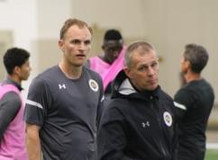 Midfielder Matt LaGrassa and coach Gary Smith
